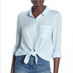 Abound Striped Tie front Button Up Blouse